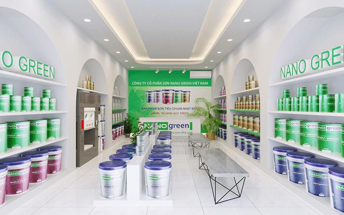 Mẫu cửa hàng đại lý sơn nước Nano Green