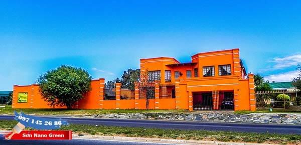 Màu sơn tường nhà bên ngoài màu Da Cam - Sơn Nano Green
