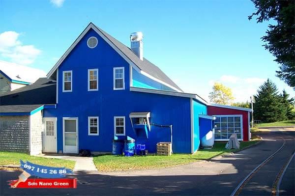 Màu sơn tường nhà bên ngoài màuxanh da trời - SonNanoGreen.com