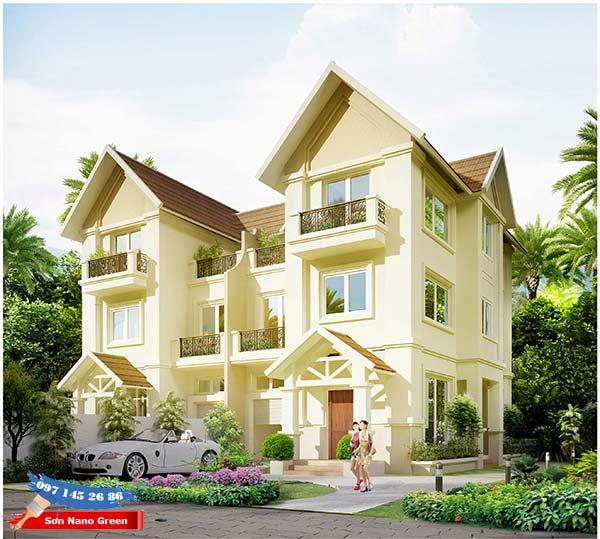Màu sơn tường nhà bên ngoài màu Vàng - Sơn Nano Green