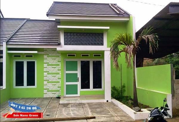 Màu sơn tường nhà bên ngoài màu xanh lá cây - SonNanoGreen.com