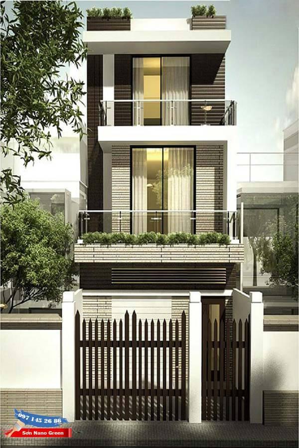 Cách phối màu sơn mặt tiền nhà ống với 2 màu Nâu - Trắng giúp căn nhà thêm phần Sang Trọng & Đẳng Cấp