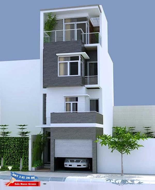 Cách phối màu sơn mặt tiền nhà ống màu xanh – xám ghi - Tạo vẻ đẹp tinh tế cho căn nhà
