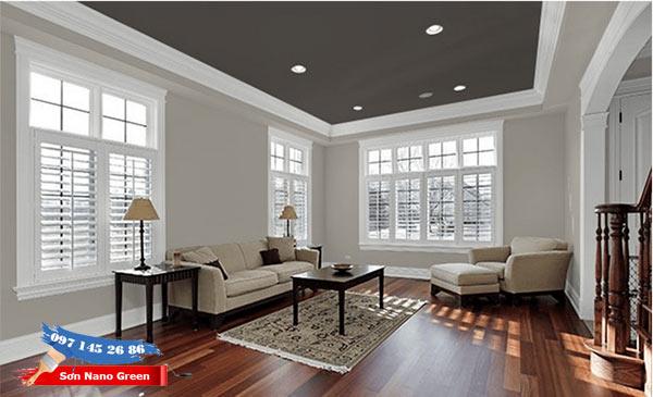 Phối màu sơn trần nhà đẹp theo tông màu trầm