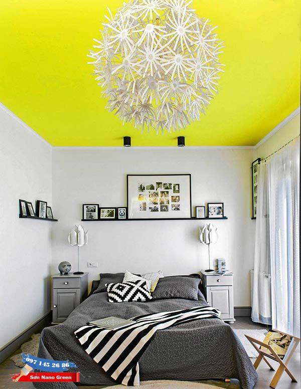 Sơn trần nhà màu vàng - Sơn Nano Green