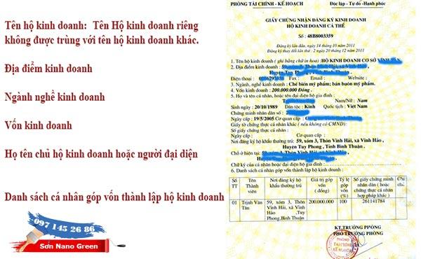 Đăng ký kinh doanh hộ cá thể - Sơn Nano Green