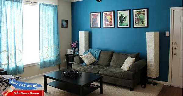 Sơn nhà màu xanh dương - Phòng khách