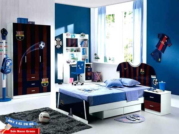 Sơn nhà màu xanh dương - phòng ngủ trẻ em
