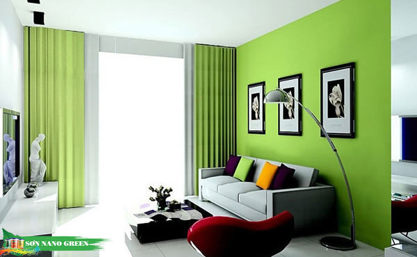 Tuổi Mậu Ngọ nên sơn phòng khách màu xanh lá cây